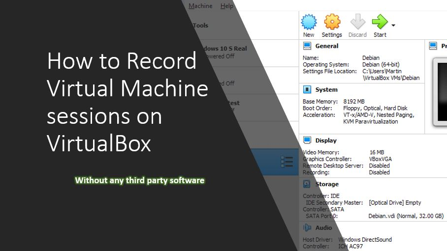 How to record virtualbox virtual machine session screens free
