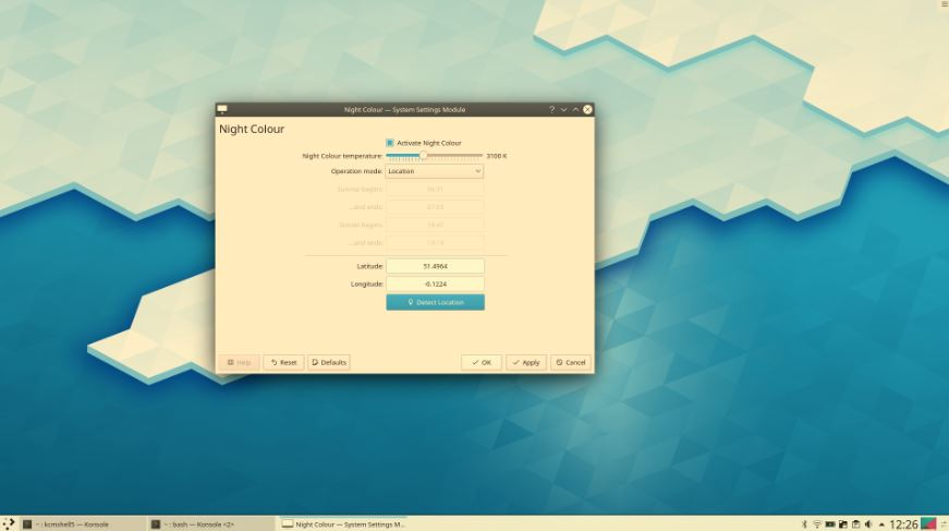 KDE plasma 5.17 Night mode