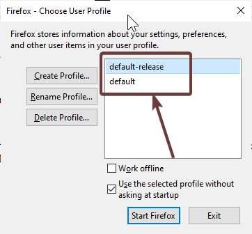 Multiple Firefox default user profile