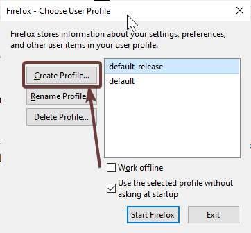 Profile creation settings
