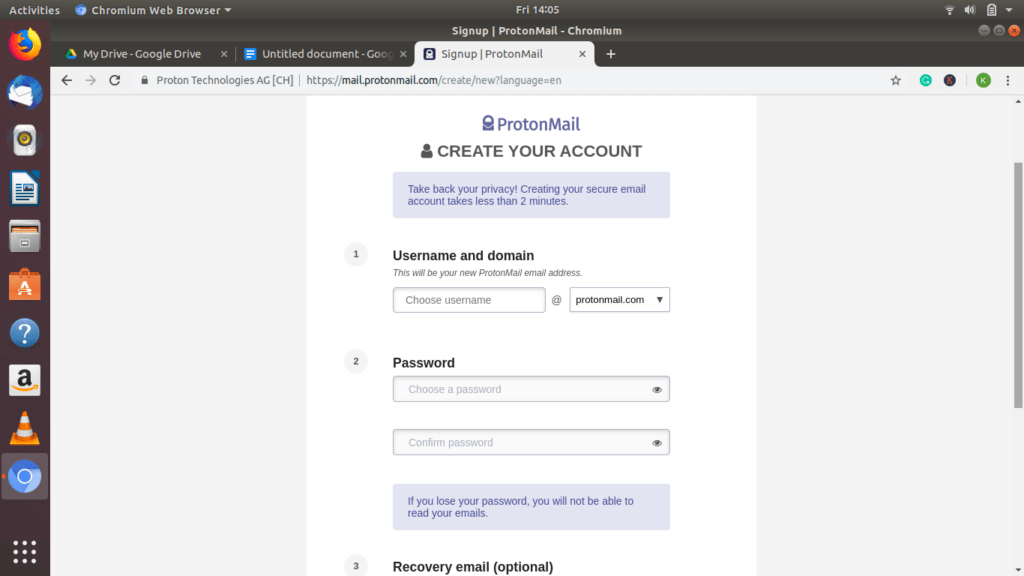 Protonmail login screenshot