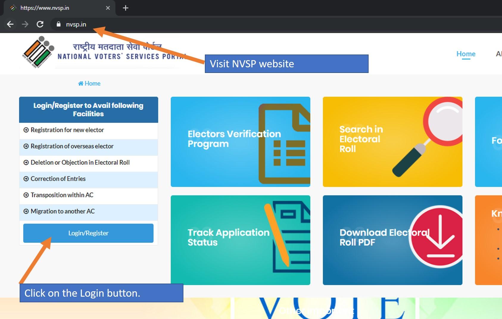 Register on NVSP website
