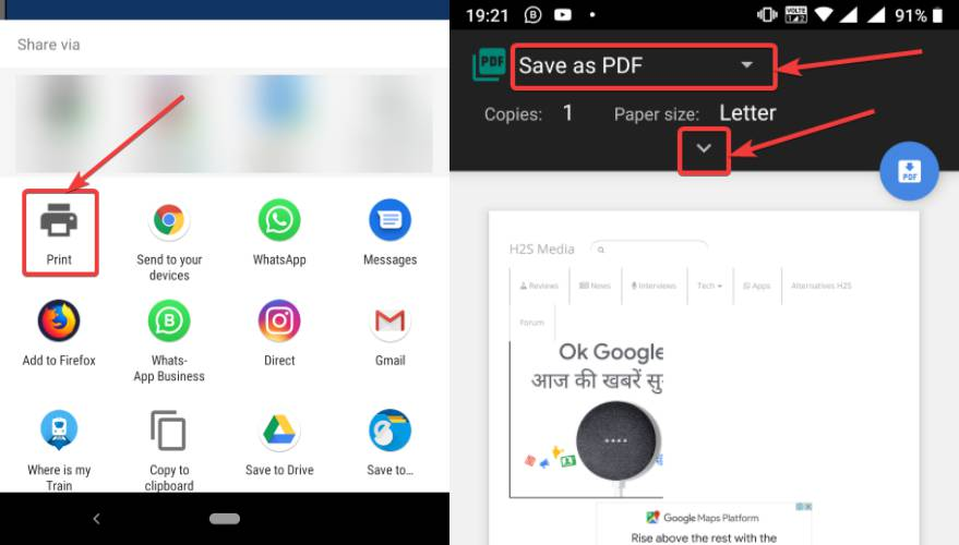Chrome Android browser to save PDF file