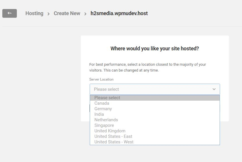 Select the server location to host the website