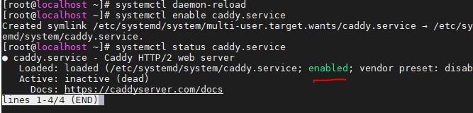 The-service-is-enabled-and-caddy-is-running-in-the-background