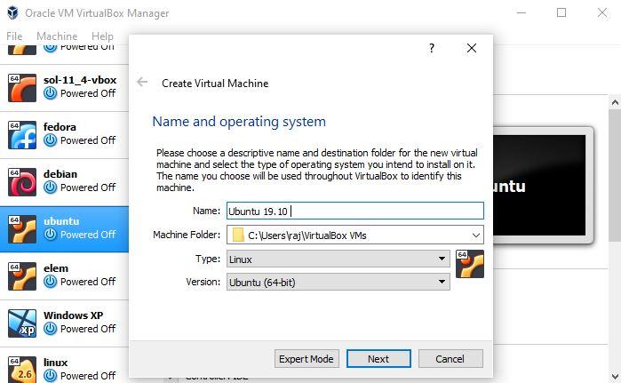 Ubuntu 19.10 virtualbox installation
