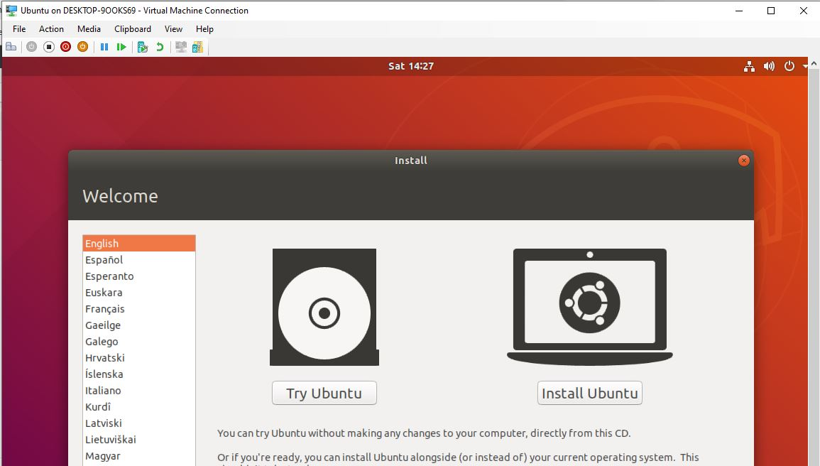 Ubuntu Linux installation on hyper-v