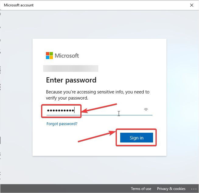 enter your Windows Live account password