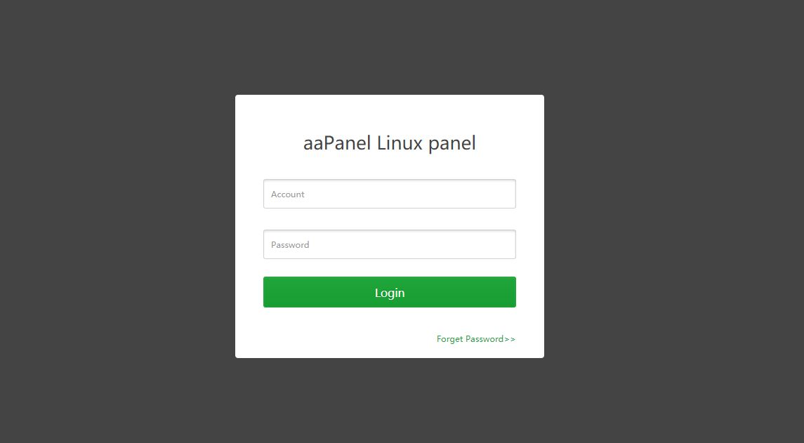 aapanel Linux Panel login page
