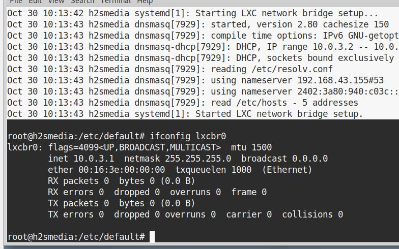 check the network interface details bridged and used for LXC