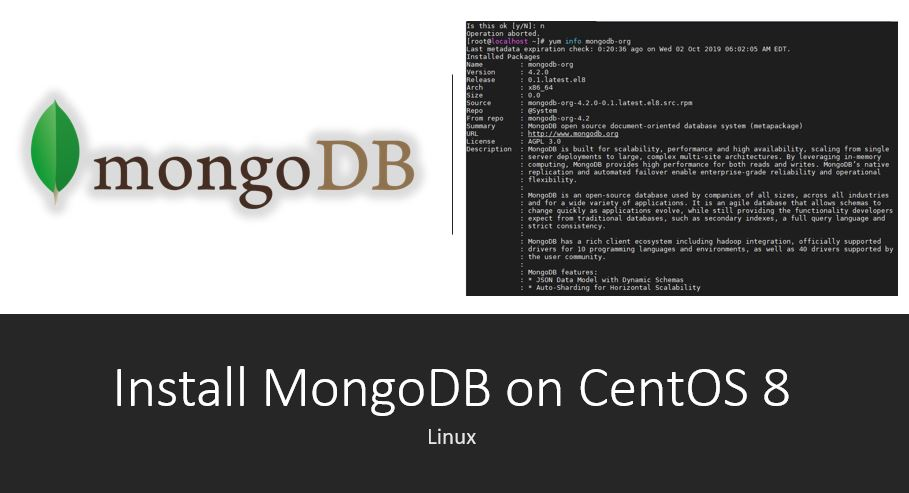 command to Install MongoDB on CentOS 8 Linux or RHEL 8