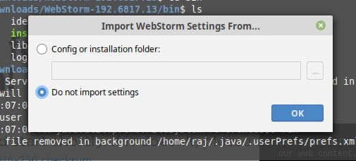 do not import settings for Webstorm JAVA IDE