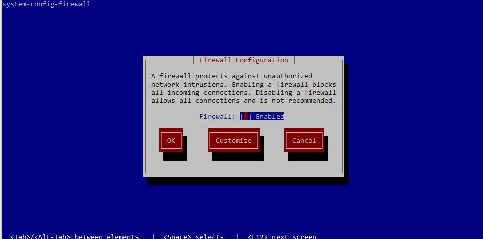 firewall TUI for CentOS 7 redhat 7
