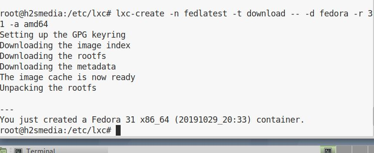 installing latest fedora 31 on LXC