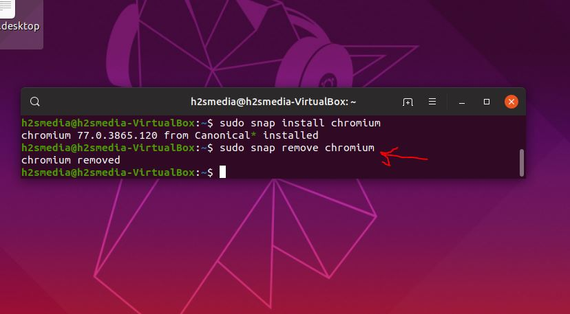 uninstall chromium using snap on ubuntu