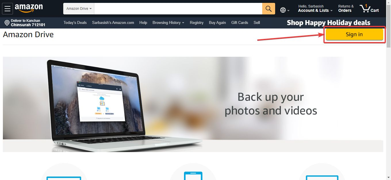 Accessing Amazon Drive sign in on computer