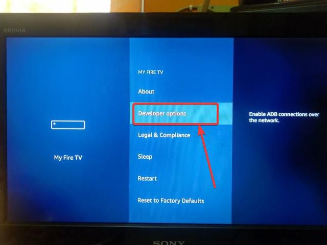 Developer options' under 'My Fire TV'.