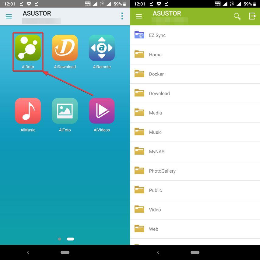 find AiData Asustor mobile app
