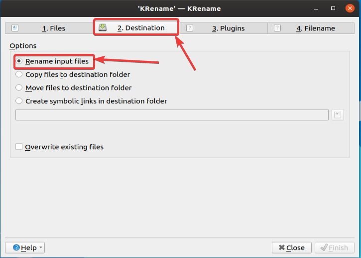 Rename input files
