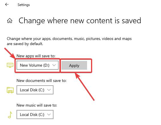 Change Microsoft Store apps to other drives 40