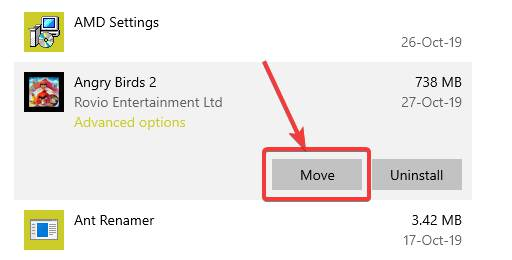 Move Microsoft store apps from one drive to another