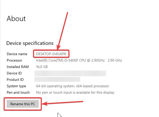 Rename Windows 10 PC or laptop
