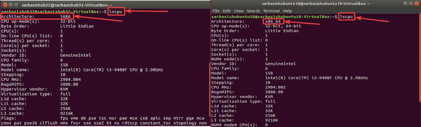 Check whether Linux is 32 bit or 64 bit 10 20