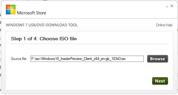 Choose ISO file to burn on USB drive using WIndows 10