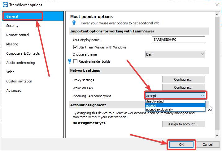 Configure TeamViewer for local access 20