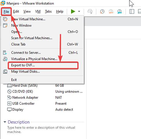 Export VMware Workstation Pro Virtual Machine to OVF