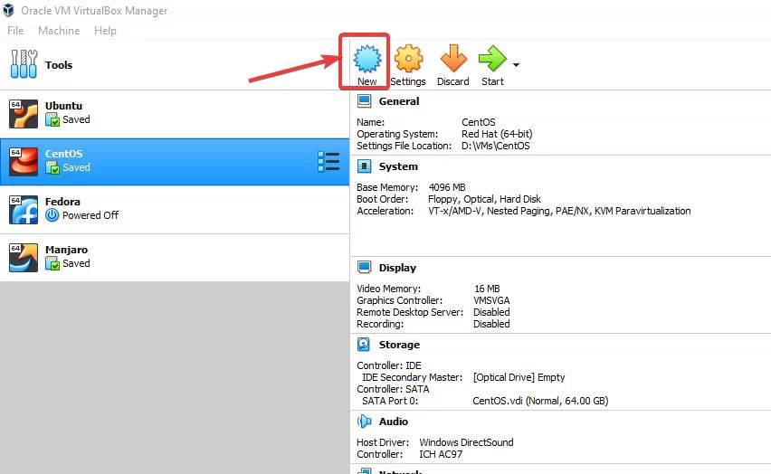 Run VirtualBox and create a new VM