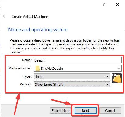 Name and select Type of OS on VirtualBox