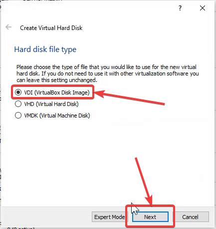 Select Hard disk file type