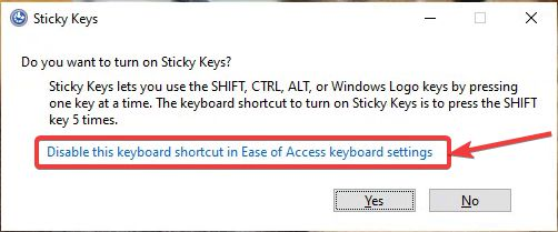 Disable keyboard accessibility shortcuts