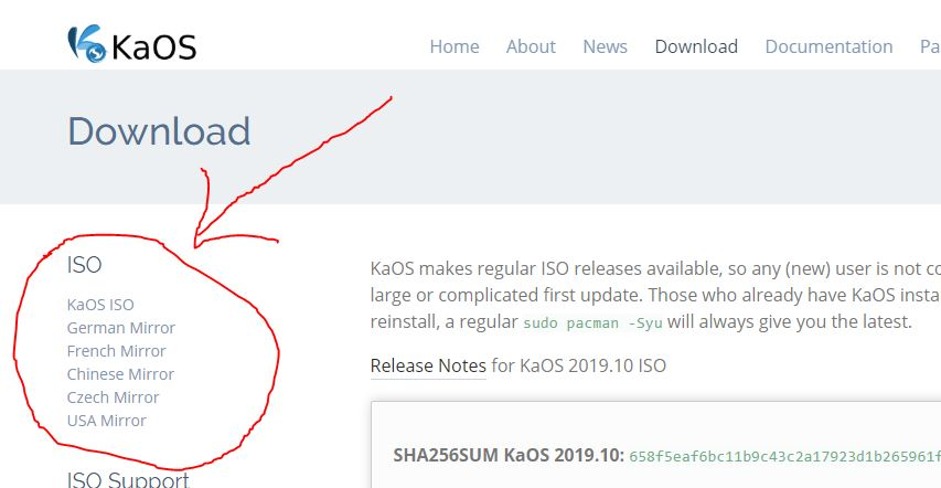 Download ISO image of KaOS Linux OS