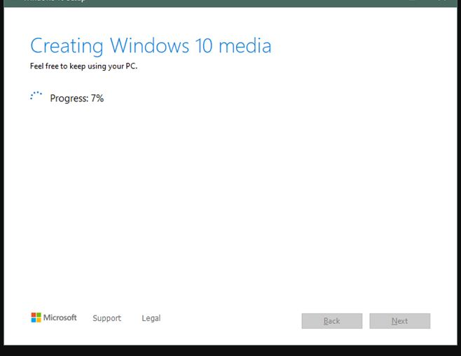 Downloading WIndows 10 for USB drive