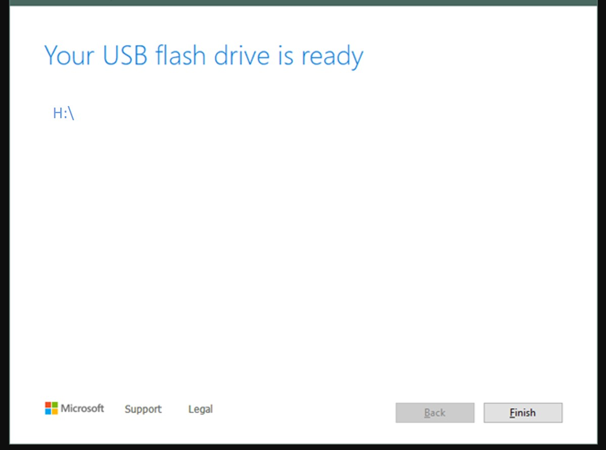 Flash USB drive usin gWindows 10 media creation tool