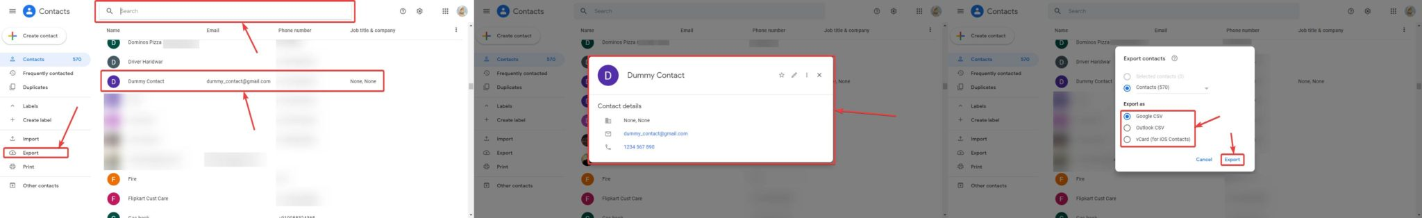 export the  Google Contacts on PC