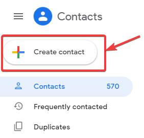 Creating a new Google Contacts on PC