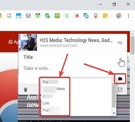 Google Keep Chrome extension add labels