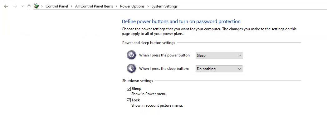 Hibernate option in the power options menu