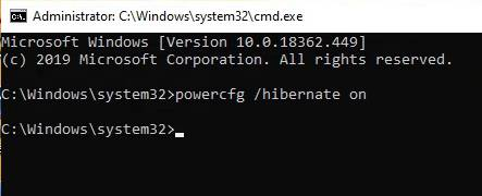 Command to enable hibernate option