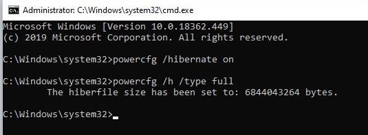 Hibernate back in power options 40