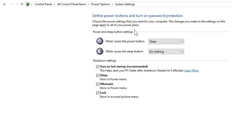 Hibernate back in power options from Windows control panel