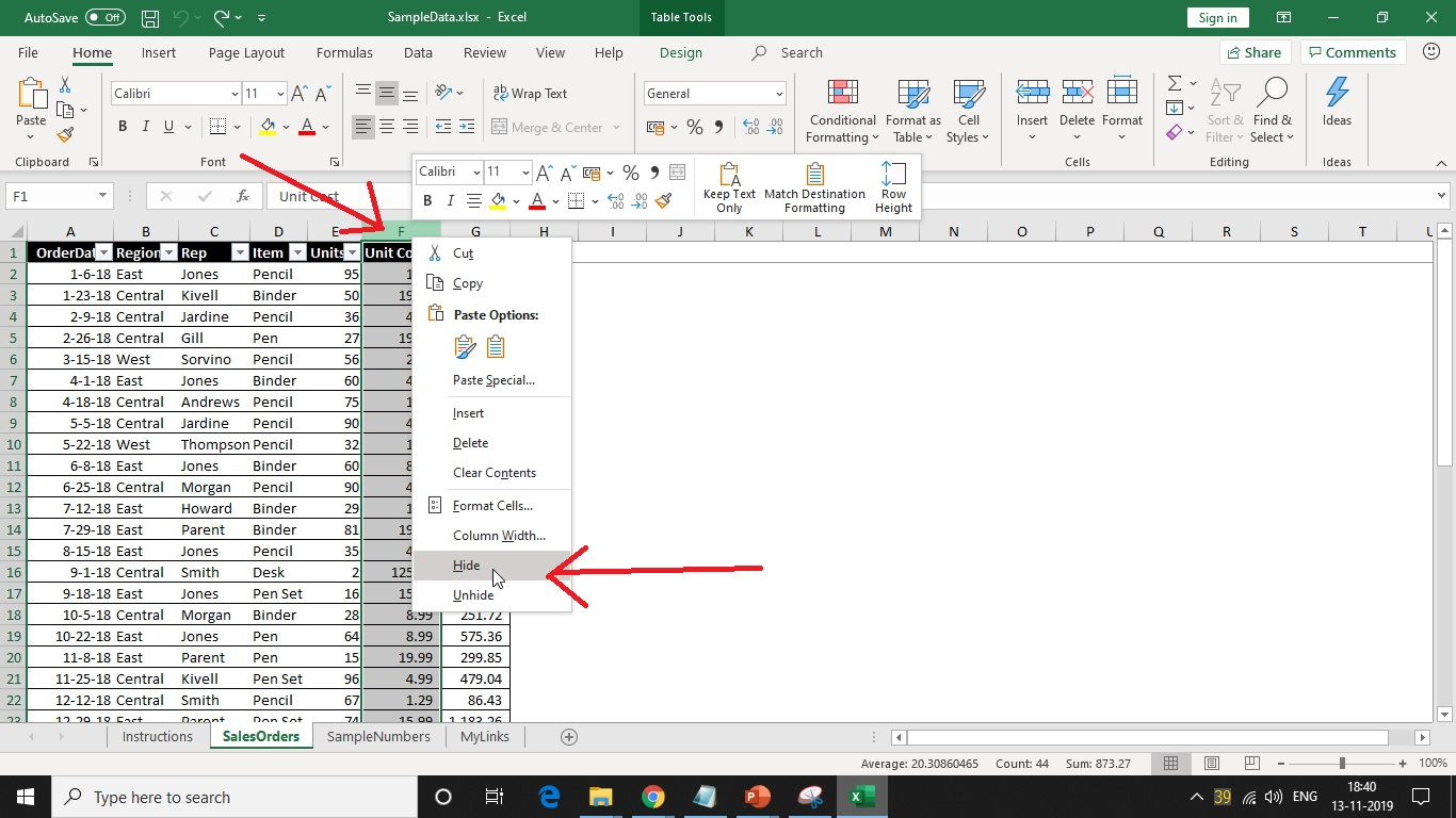 Hide rows on Microsoft Excel