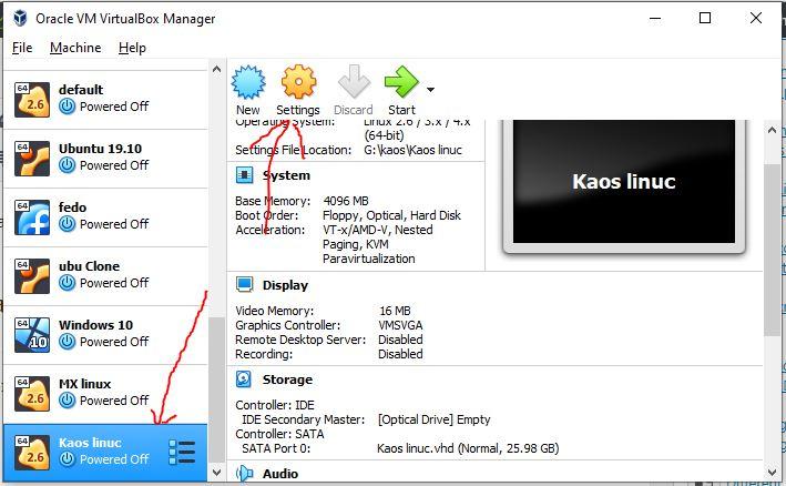 Insert KaOS ISO image on VirtualBox