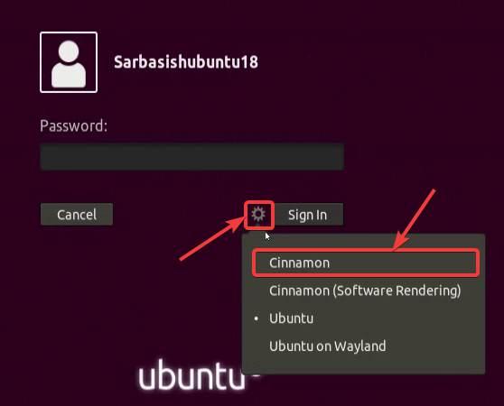 Login with Cinnamon desktop environment on Ubuntu.