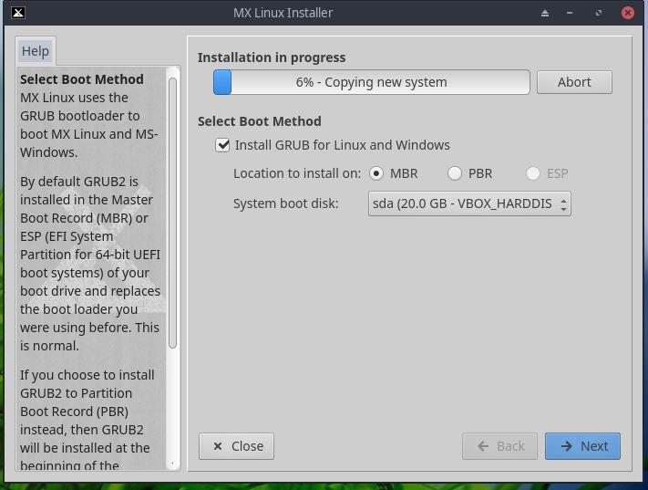 Installation in progress of MX linux