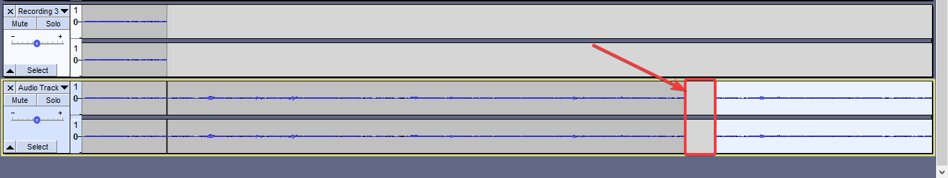 pasting the new clip with Audacity 105