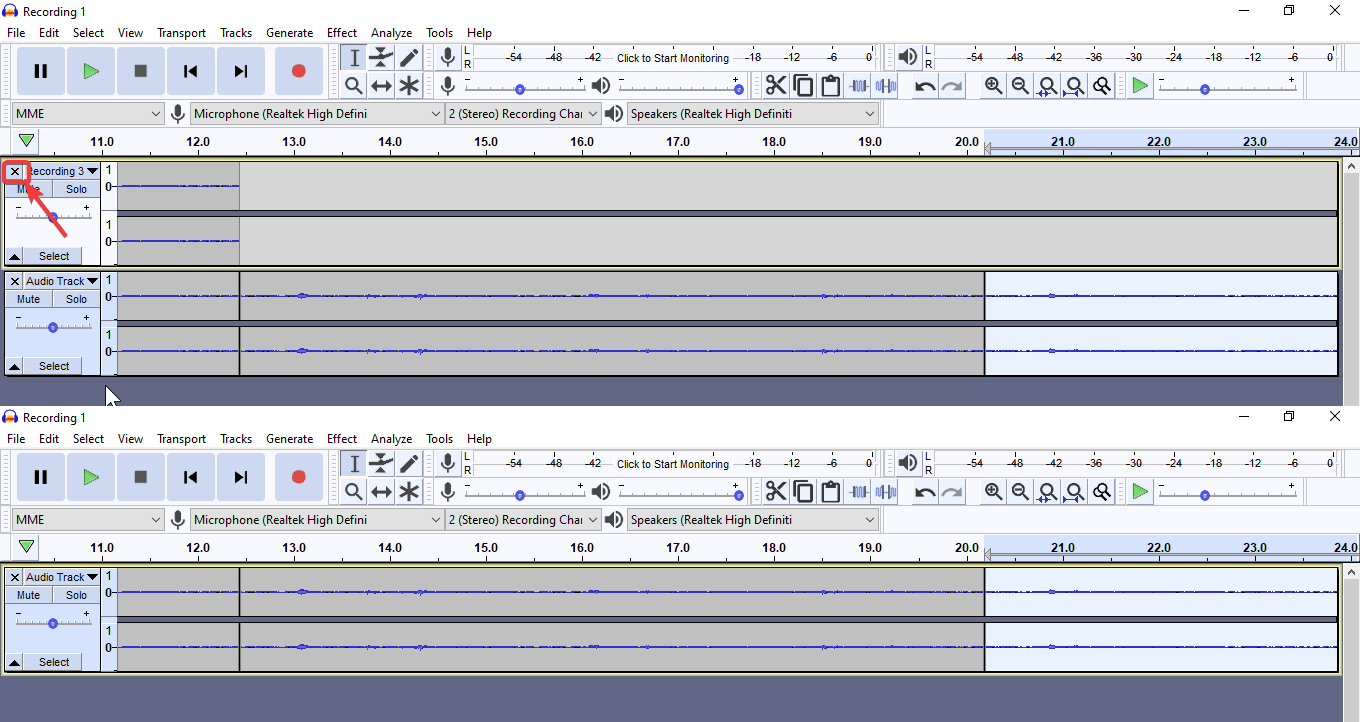 simply close the other audio files imported